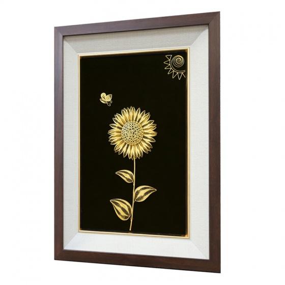 Tranh Hoa Hướng Dương mạ vàng 24K - HHD01