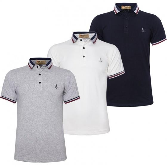 Bộ 3 áo thun nam cổ bẻ cotton thoáng mát phối bo độc đáo Pigofashion AHT07 xanh đen,trắng,Xám