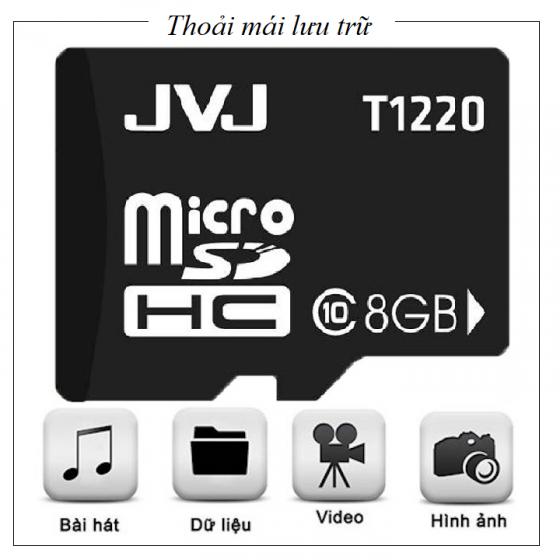 Thẻ nhớ 8Gb  JVJ Class 10 Dùng cho tất cả các dòng thiết bị hỗ trợ thẻ nhớ micro, camera giám sát