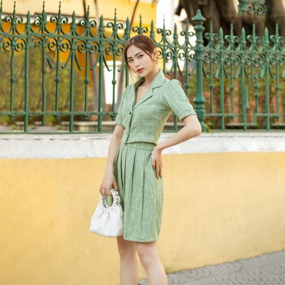 Set áo váy dạ tweed xếp ly thời trang Eden - D435