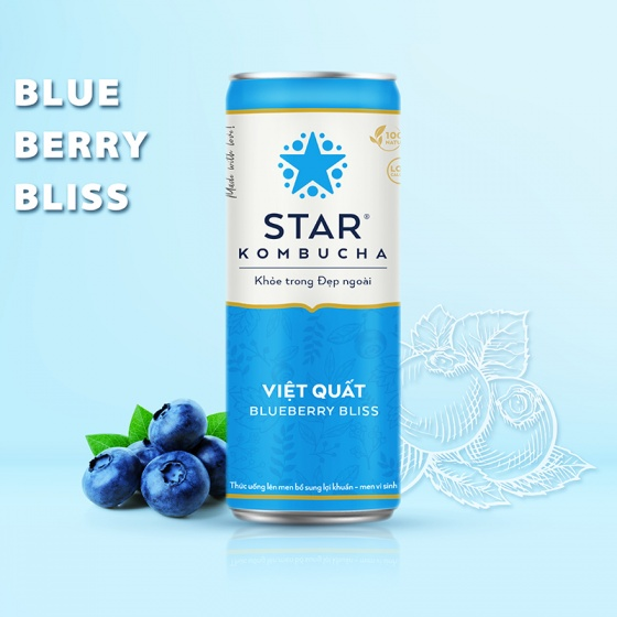 Thùng 12 lon thức uống lên men STAR KOMBUCHA Việt Quất - Blueberry Bliss