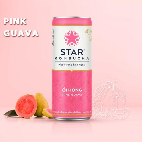 Thùng 12 lon thức uống lên men STAR KOMBUCHA Ổi Hồng - Pink Guava
