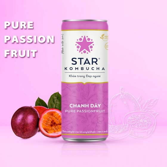 Lốc 6 lon thức uống lên men STAR KOMBUCHA Chanh Dây - Pure Passionfruit