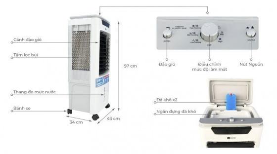 Quạt làm lạnh Không Khí Mishio MK267 100W 42L