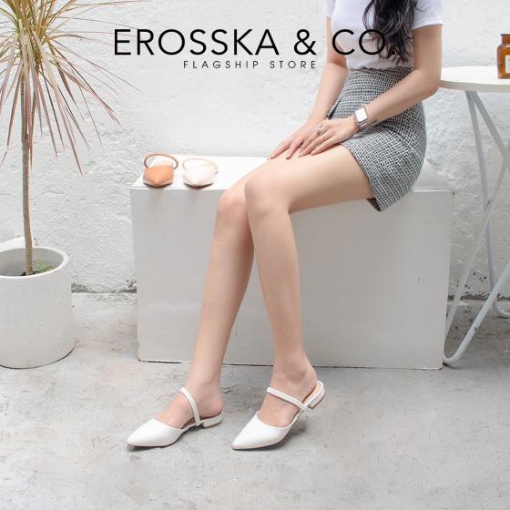 Giày nữ, giày cao gót slingback Erosska mũi nhọn cao 2cm phối dây thời trang kiểu dáng basic - EL002 (WH)