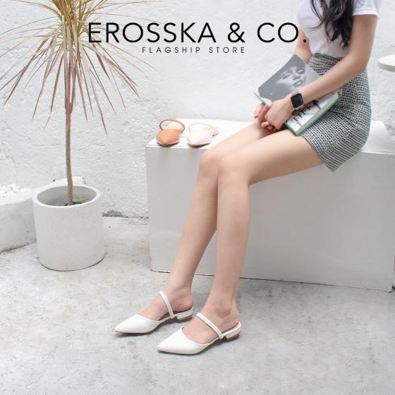Giày nữ, giày cao gót slingback Erosska mũi nhọn cao 2cm phối dây thời trang kiểu dáng basic - EL002 (BR)