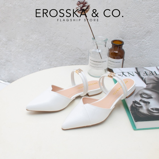Giày nữ, giày cao gót ktten heel Erosska mũi nhọn cao 2cm mũi nhọn phối dây thời trang - EL004 (BR)