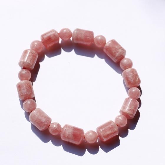 Vòng lu thống đá đào hoa rhodochrosite mệnh hỏa, thổ - Ngọc Quý Gemstones