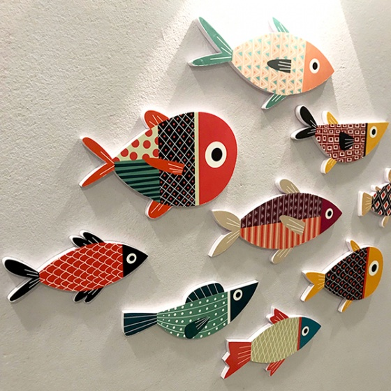 Bộ tranh color fish treo tường trang trí phòng khách , phòng ngủ , phòng ăn - 03