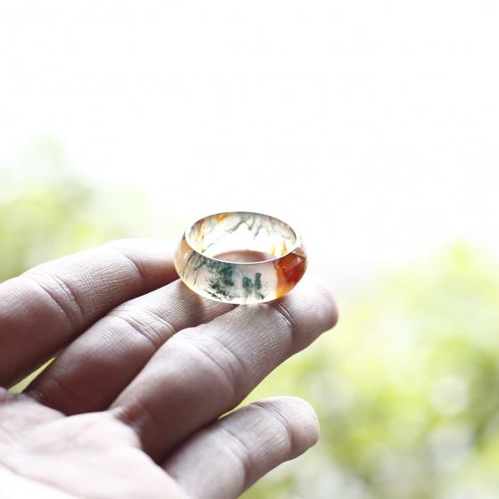 Nhẫn nữ đá băng ngọc thủy tảo huyết ni21 mệnh hỏa, mộc, thổ - Ngọc Quý Gemstones