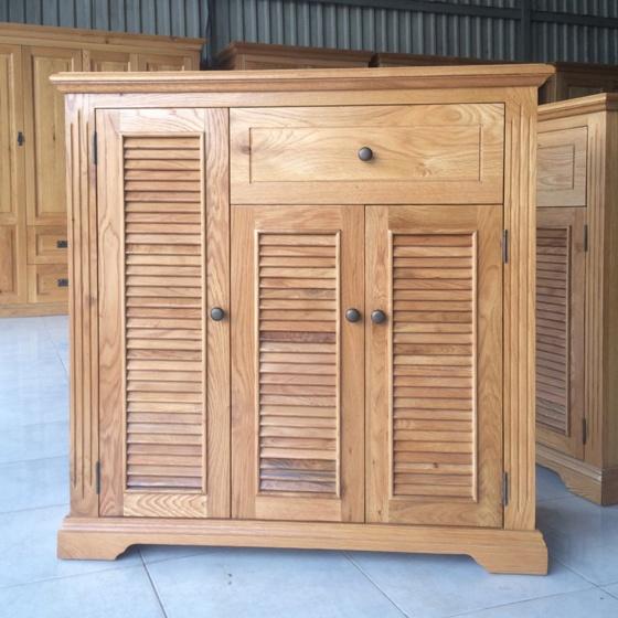 Tủ giầy Victoria 3 cánh lá sách gỗ sồi 1m2 - IBIE