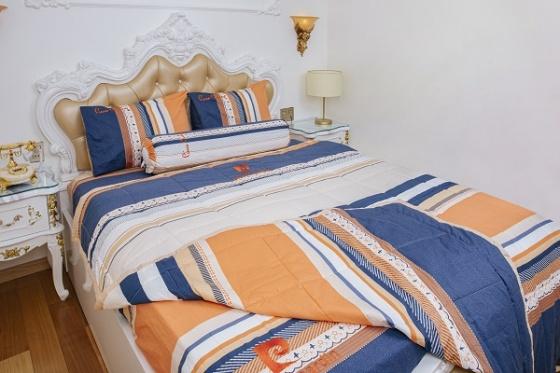 Bộ drap sọc cam xanh cotton Pierre Cardin