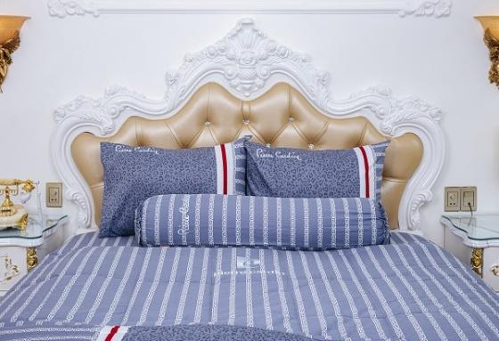 Bộ drap da beo xanh cotton Pierre Cardin