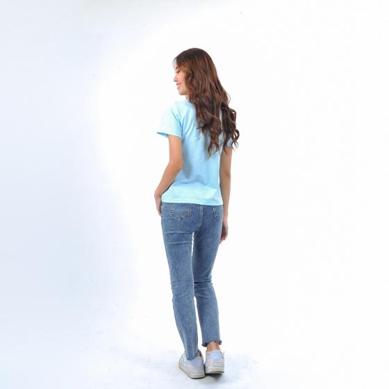 Áo thun nữ tay ngắn cổ tròn thời trang Eden thêu chữ - AT090