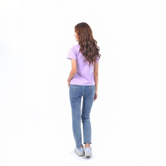 Áo thun nữ tay ngắn cổ tròn thời trang Eden thêu chữ - AT091