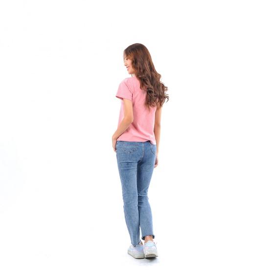 Áo thun nữ tay ngắn cổ tròn thời trang Eden thêu chữ - AT097