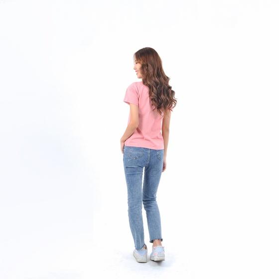 Áo thun nữ tay ngắn cổ tròn thời trang Eden thêu chữ - AT098