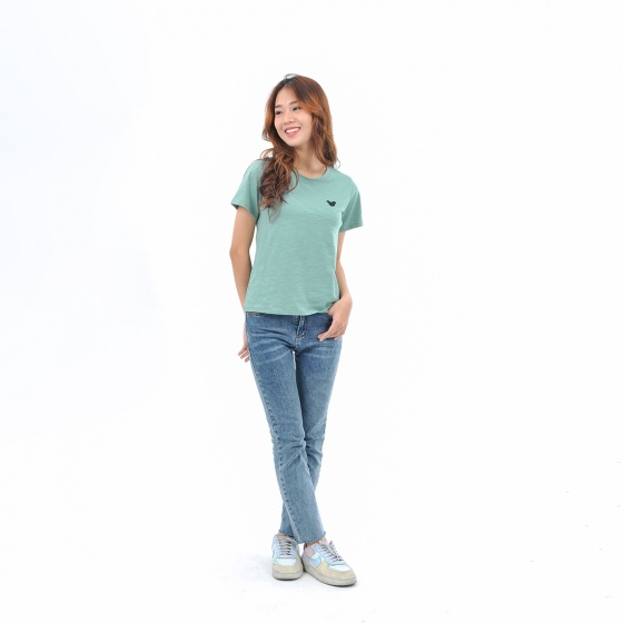 Áo thun nữ tay ngắn cổ tròn thời trang Eden thêu hình - AT092