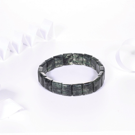 Vòng tay đá thạch anh tóc xanh bản vuông 12x10mm mệnh hỏa, mộc - Ngọc Quý Gemstones