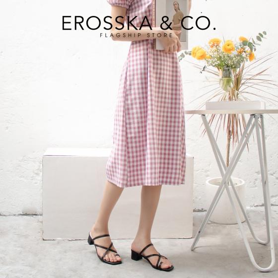 Dép cao gót thời trang Erosska xỏ ngón phối dây phong cách Hàn Quốc cao 3cm EM066