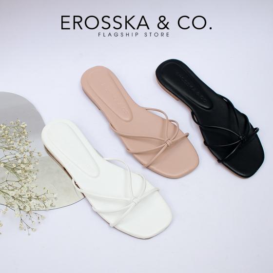 Dép nữ đế bệt phối dây quai mảnh thời trang Erosska DE037