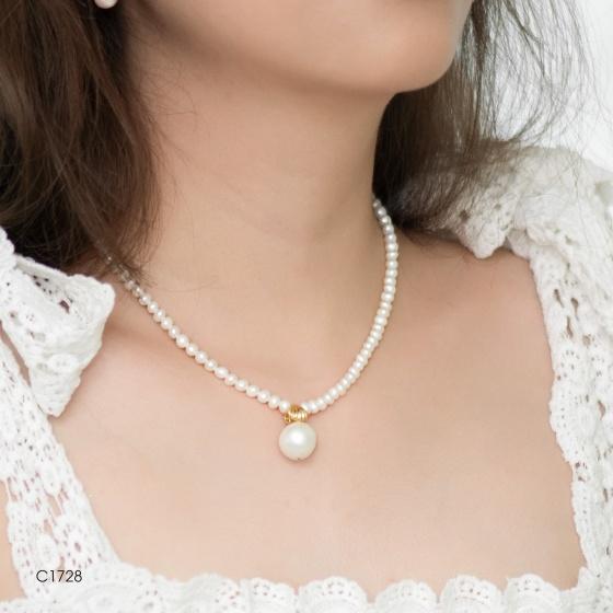 Chuỗi cổ ngọc đính mặt PS silver đá cz,… 83 viên ngọc F trắng 6.5-11mm - C1728P0F38W037083Q000
