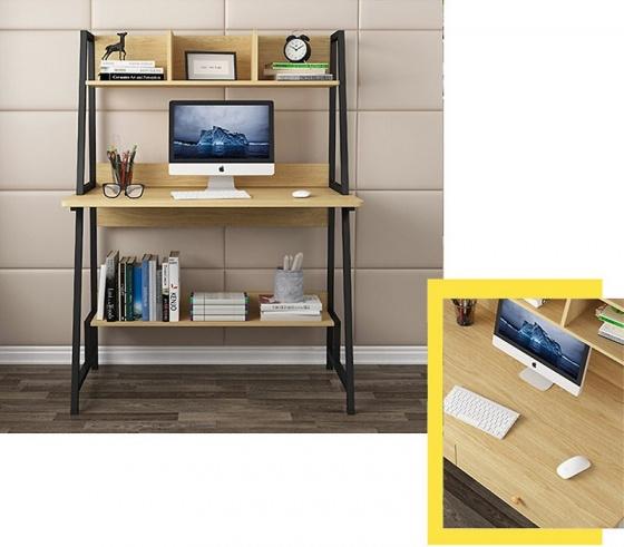 Bàn văn phòng, bàn máy tính chân sắt có kệ sách Kachi MK261 48x80x137cm