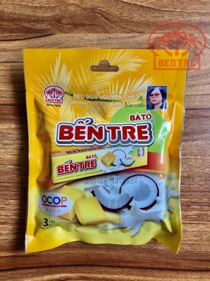 03 Thanh kẹo dừa hiệu Bà Hai Tỏ Bến Tre - vị Nguyên Chất (mỗi thanh 10 Viên) 142.5gr
