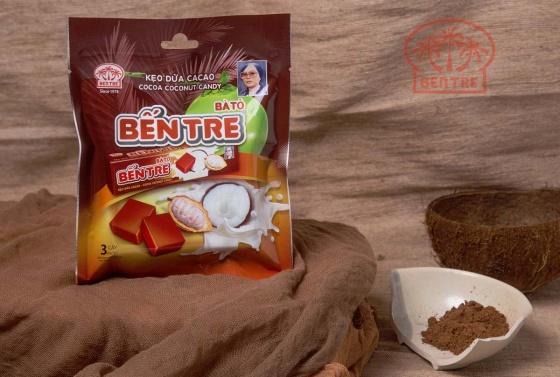 03 Thanh kẹo dừa hiệu Bà Hai Tỏ Bến Tre - vị Cacao (mỗi thanh 10 viên) 142.5gr