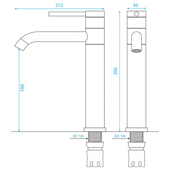 Vòi Lavabo nóng lạnh dương bàn inox304 SUS3318