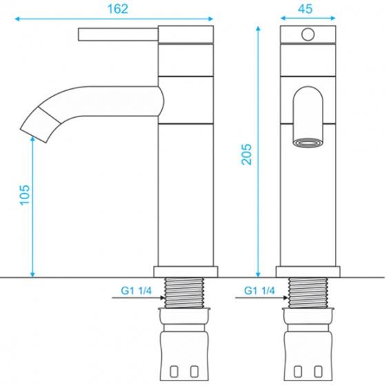 Vòi lavabo nóng lạnh inox304 SUS3328