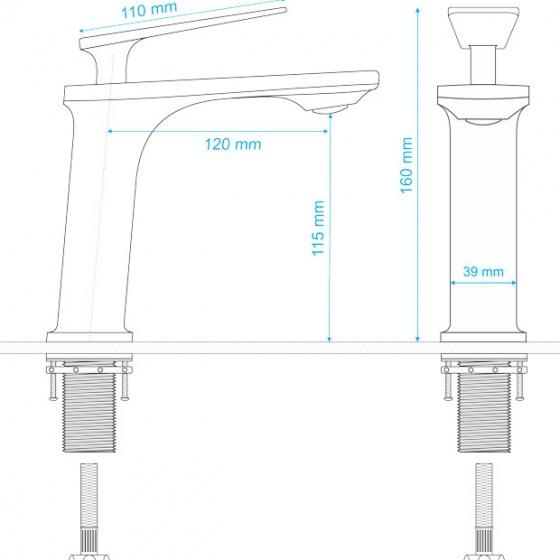Vòi lavabo nóng lạnh Delta Series ZT2141-W+G