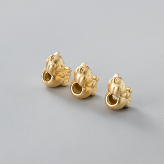 Charm mèo thần tài may mắn bạc mạ vàng - Ngọc Quý Gemstones