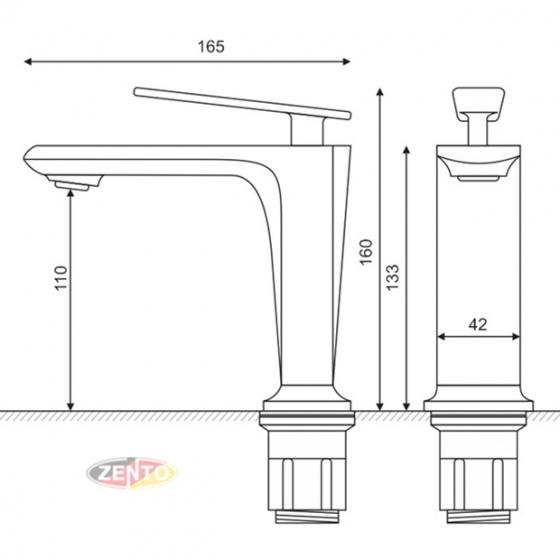 Vòi lavabo nóng lạnh Crystal series ZT2215-B