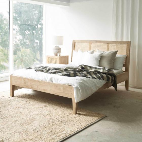 Giường đôi Rattan gỗ sồi 1m6