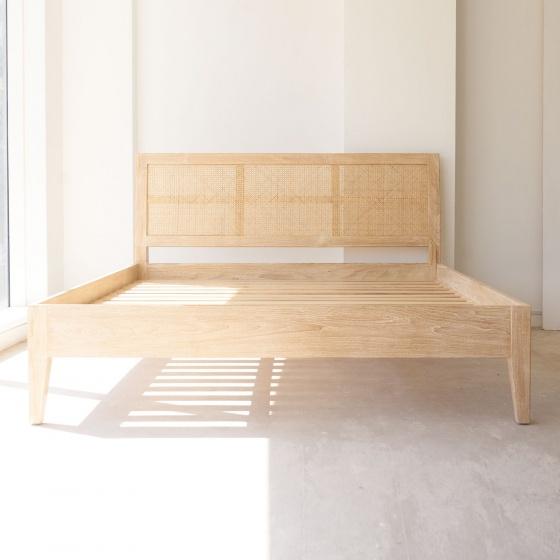 Giường đôi Rattan gỗ sồi 1m8