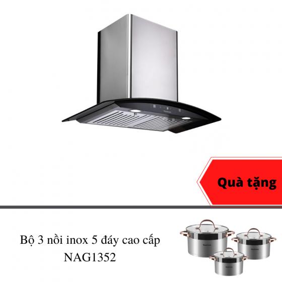 Máy hút mùi cảm ứng cao cấp Nagakawa NAG1855-70CM - bh 5 năm - made in Malaysia - tặng bộ nồi inox 5 đáy