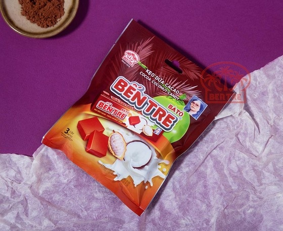 Combo 03 gói - 09 Thanh kẹo dừa hiệu Bà Hai Tỏ Bến Tre - vị Cacao (một thanh 10 viên)