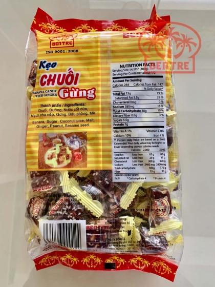 Combo 4 gói kẹo Chuối Gừng hiệu bà Hai Tỏ Bến Tre - 2kg