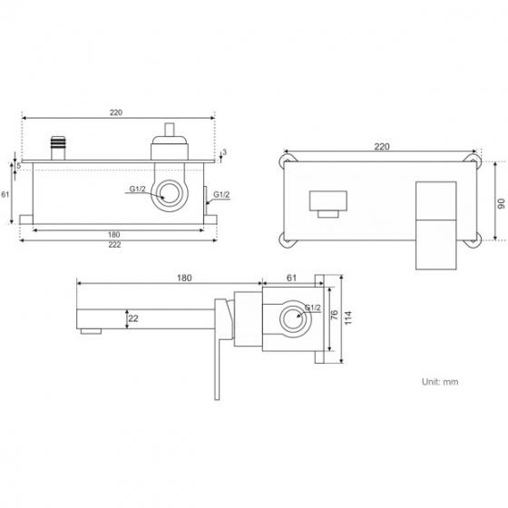 Vòi lavabo nóng lạnh âm tường ZT2669-B