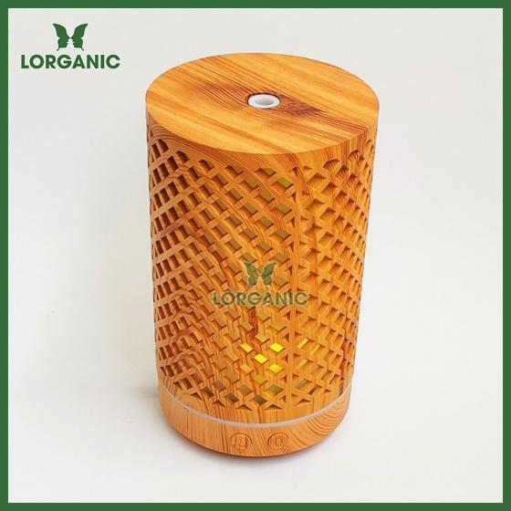 Combo máy khuếch tán, máy xông tinh dầu Lorganic hình trụ lưới FX2065 + tinh dầu cam hương Lorganic (10ml)