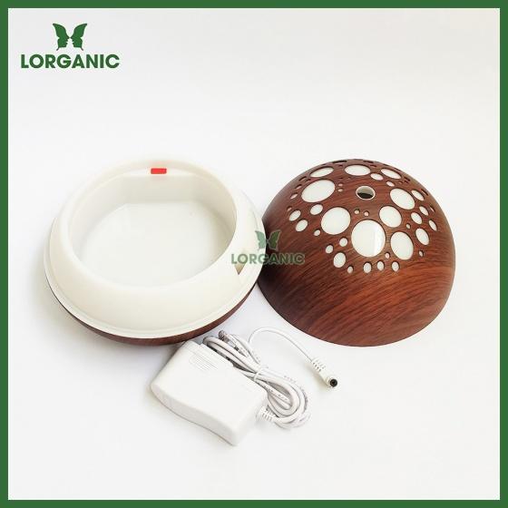 Combo máy khuếch tán, máy xông tinh dầu Lorganic ánh trăng vân gỗ tối FX2041 + tinh dầu cam hương Lorganic (10ml)