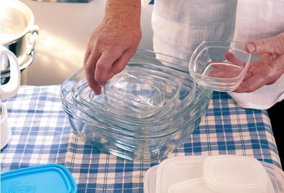 Bộ Hộp thực phẩm D9015A Duralex - Freshbox nắp xanh Blue 5 size Thủy tinh cường lực Pháp