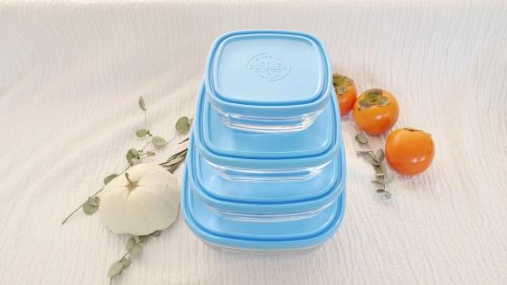 Hộp thực phẩm D9022A Duralex - Freshbox nắp xanh Blue 1150ml Thủy tinh cường lực Pháp