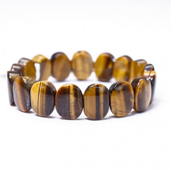 Vòng đá thạch anh mắt hổ vàng nâu bản 14.5x16mm mệnh thổ, kim - Ngọc Quý Gemstones