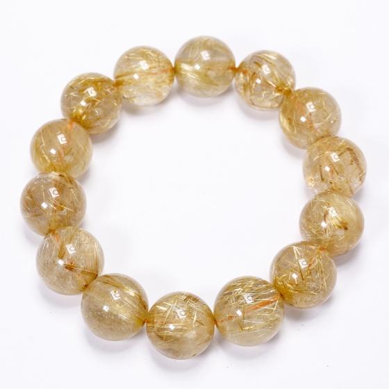 Vòng thạch anh tóc vàng 15.5mm mệnh thủy, kim - Ngọc Quý Gemstones