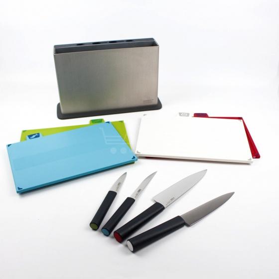 Bộ 4 dao 4 thớt kháng khuẩn Joseph Joseph - Nhập khẩu và thương hiệu Anh