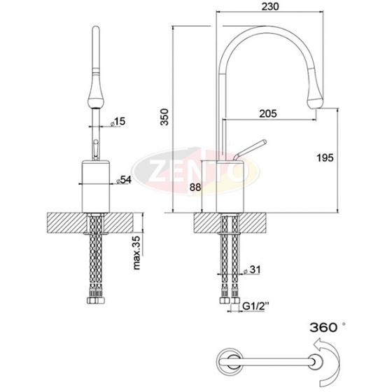 Vòi chậu Lavabo nóng lạnh Art Chrome ZT2185-C