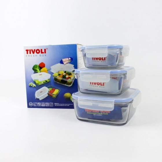 Bộ 3 thố thủy tinh cường lực hình vuông Tivoli Châu Âu - (MBSQ01.03 GB)