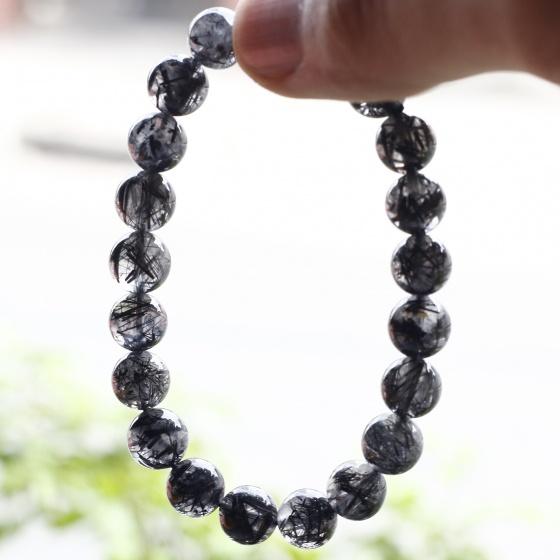 Vòng đá thạch anh tóc đen hạt trong nhiều tóc 8mm mệnh thủy, mộc - Ngọc Qúy Gemstones